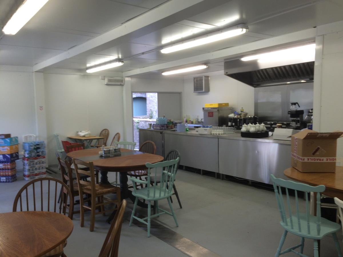 Pop-up cafe and open kitchen replacement for an art gallery following a flood.