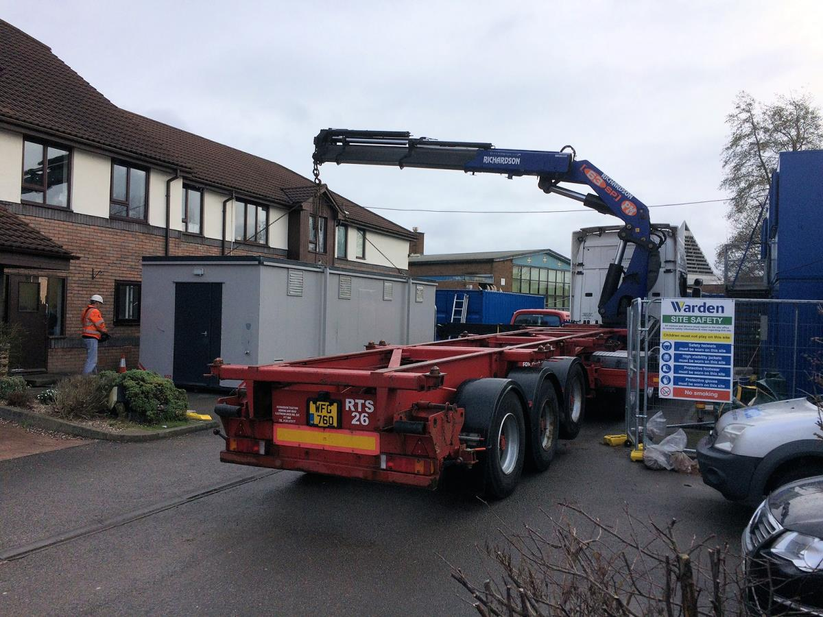 One of our Multi kitchens being delivered. The unit can be connected to services or self contained.